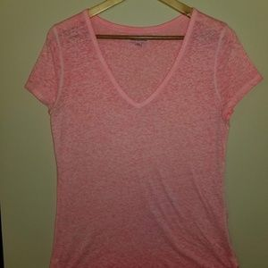 American Eagle Outfitters Tops - AMERICAN EAGLE T SHIRT PINK LARGE WOMEN'S V NECK